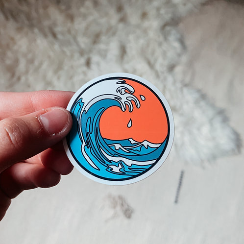 Orange Wave Sticker