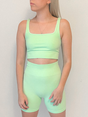 Green Ribbed Stretch Top and Biker Shorts