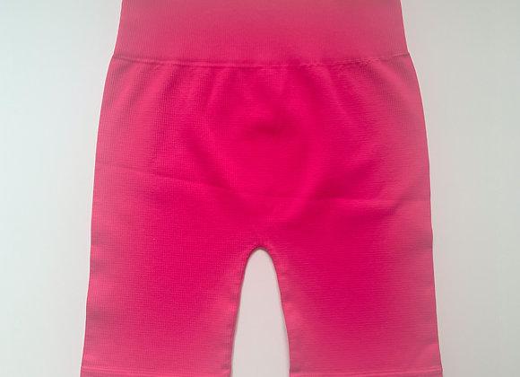Hot Pink Ribbed Biker Shorts