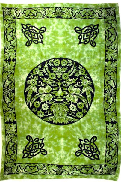 "Green Man Tapestry 72"" x 108"""