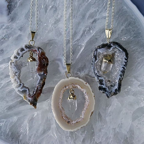 Silver Plated Agate Geode Slice Pendant with Crystal Accent