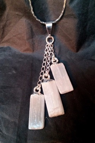 Silver Plated Triple Selenite Dangle Pendant