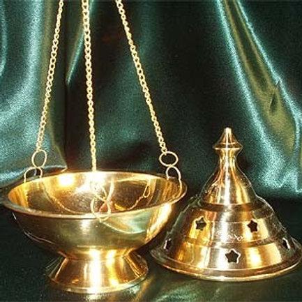 """Brass Censer Burner with Chain, 4 3/4"""""""