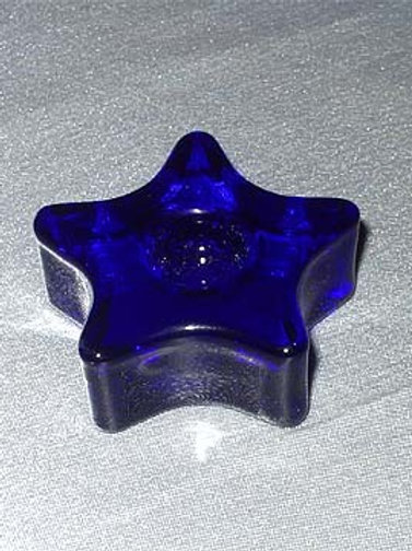Blue Star Glass Candle Holder