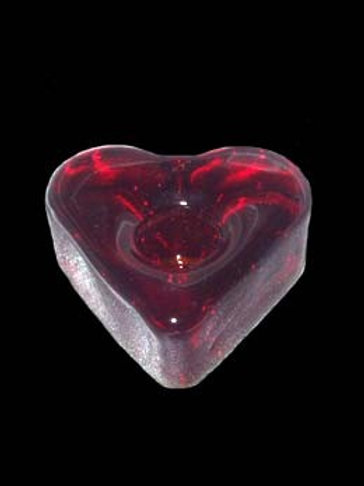 Red Heart Glass Candle Holder