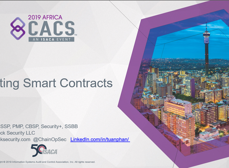 2019 AfricaCACS - Auditing Smart Contracts