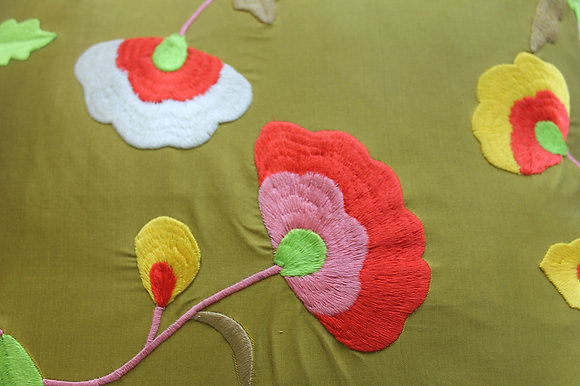 *LIMITED EDITION* Silk Green Flower Cushion