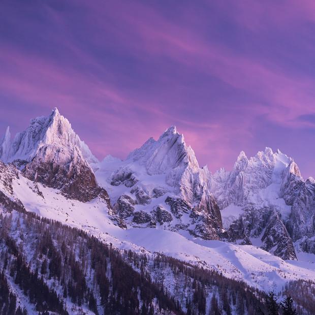 Sunset on the Aiguilles | Chamonix Valley