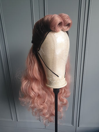 Pink wig victory rolls 1940's style - Wig Maintenance and Repair Services