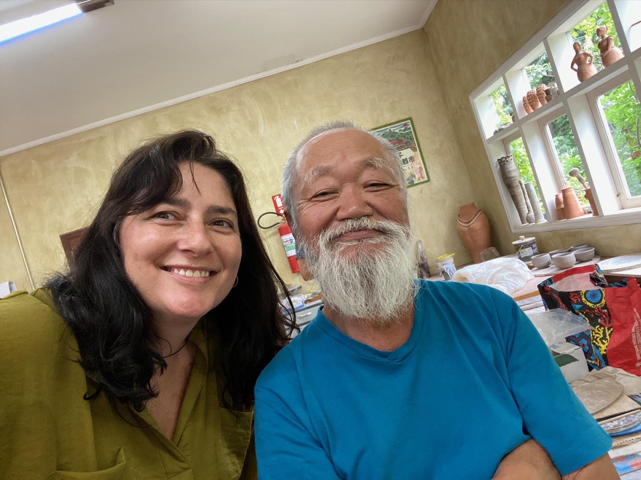 intercambio Brasil Japão, com sensei Ikoma no atelie de Silmara Watari