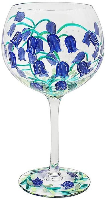Hand Painted Bluebell Flower Gin Glass by Lynsey Johnstone