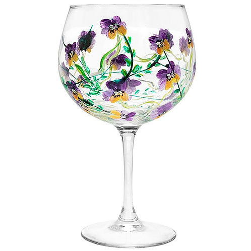 Lynsey Johnstone Hand Painted Pansies Flower  Gin Glass