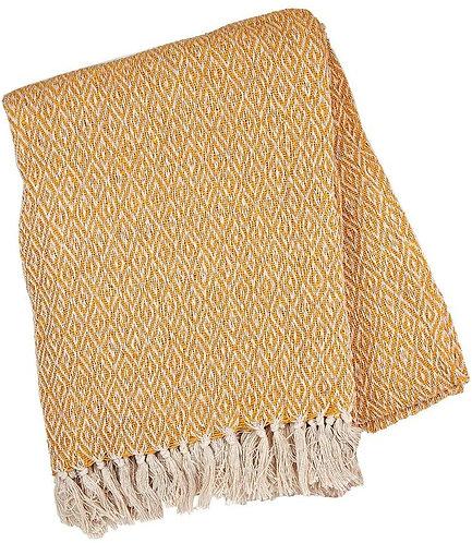 Sass & Belle Scandi Boho Mustard Blanket Throw