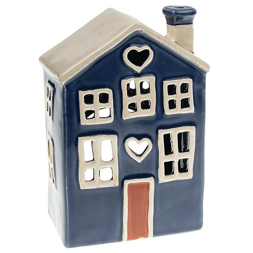 Village Pottery Heart House Tealight Blue