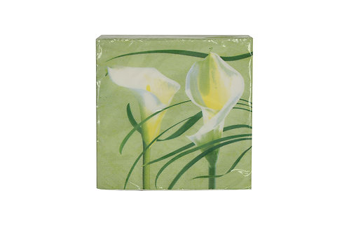 Pack/20 Paper Napkins - Green Calla Lily