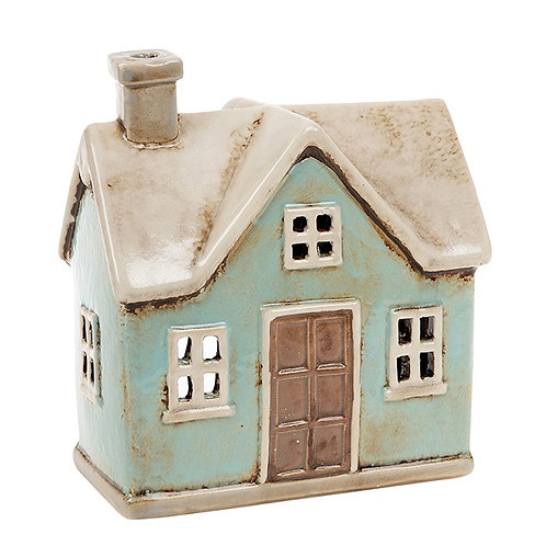 Village Pottery Traditional House Tealight Teal