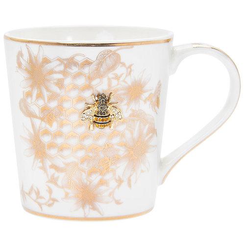 Golden Bee Hive Honeycomb Patterned Fine China Mug