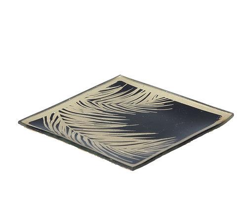 Square Glass Plate  Black Gold Palm Leaf