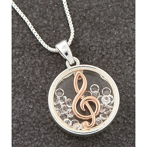 Two Tone Moving Treble Clef Necklace