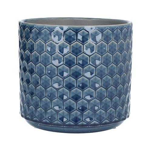 Ceramic Pot Cover 20cm - Navy Honeycomb
