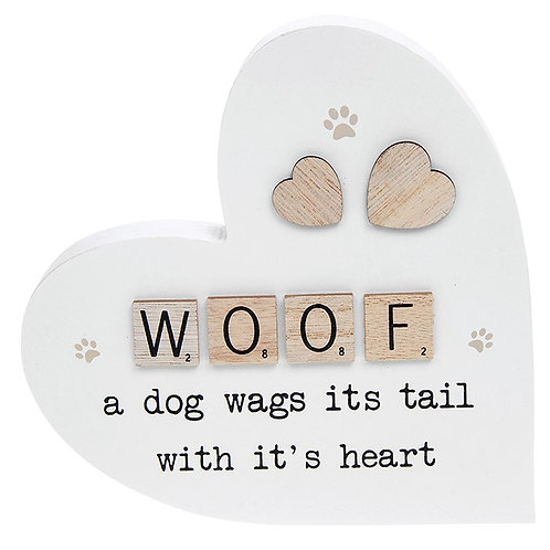 Scrabble Sentiment Standing Heart Woof