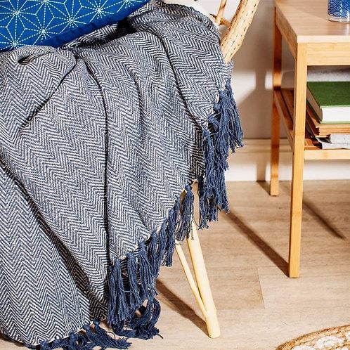 Sass & Belle Scandi Boho Blue Blanket Throw