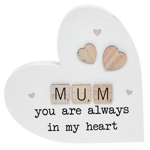 Scrabble Sentiment Standing Heart Mum