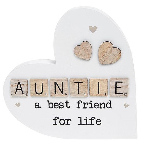 Scrabble Sentiment Standing Heart Auntie