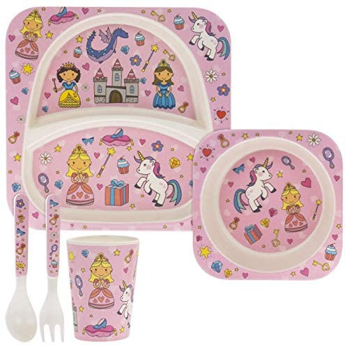 5 Piece Kids Bamboo Eating Set Fairytale