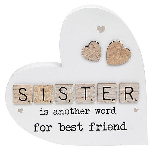 Scrabble Sentiment Standing Heart Sister