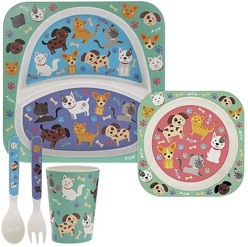 5 Piece Kids Bamboo Eating Set Cats & Dogs