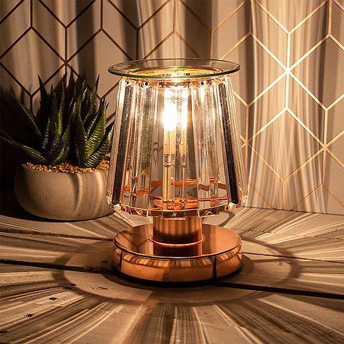 Crystal Shade Aroma Wax Burner Clear on Rose Gold
