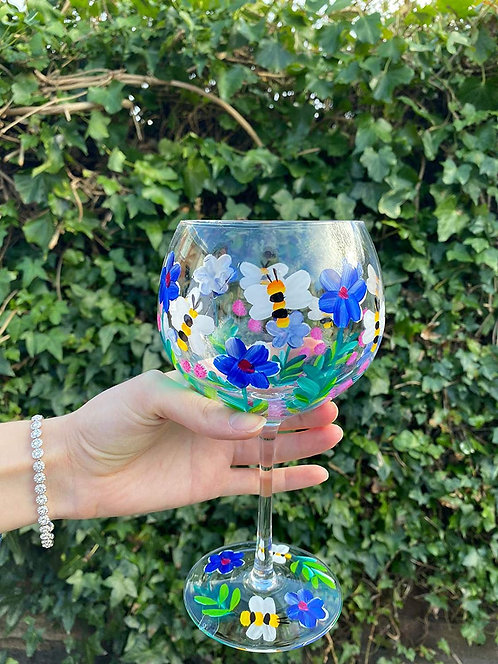 Hand Painted Bees & Flowers Gin Glass