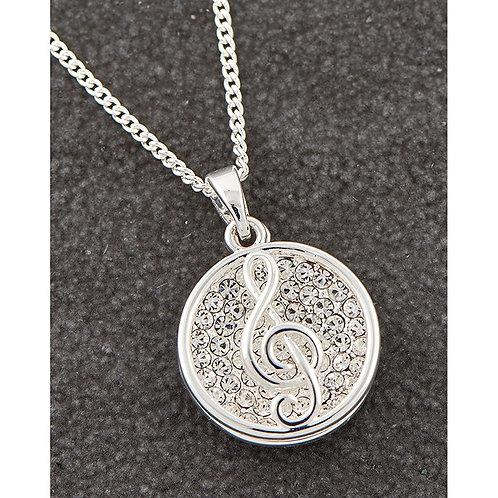 Sparkle Musical Treble Clef Necklace