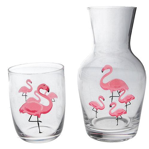 Glass Carafe 19cm - Flamingos