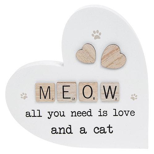 Scrabble Sentiment Standing Heart Meow