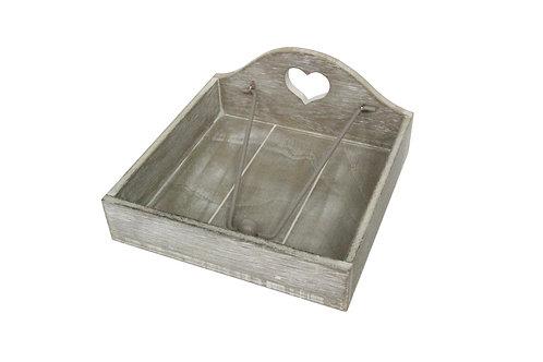 Napkin Holder 18cm Grey Wood - Carved Heart