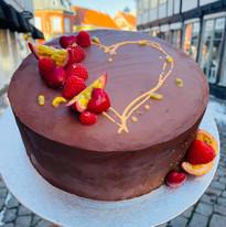 Chokolade kage med hjerte