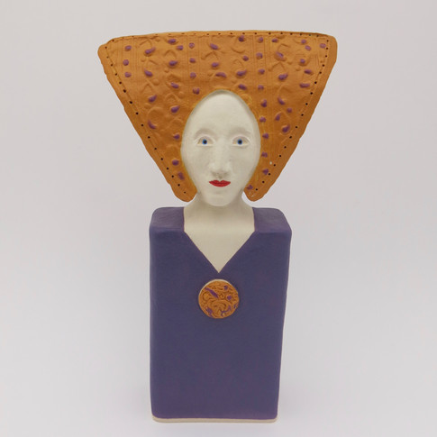 Earthenware figure decorated with underglazes and glaze 19cm x 11cm x 6cm