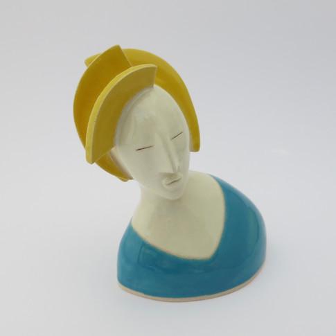 Earthenware figure decorated with glazes 11.5cm x 10.5cm x 7.5cm