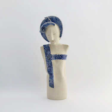Stoneware figure partially decorated with cobalt oxide and clear glaze 24cm x 8.5cm x 7cm