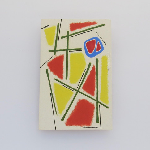 Earthenware wall plaque decorated with underglazes and glazes.   Hanger on the back for wall mounting. 16cm x 10cm x 1.75cm