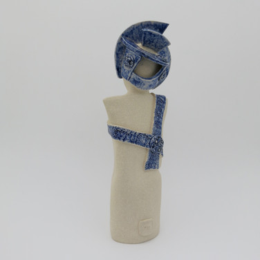 Back of stoneware figure partially decorated with cobalt oxide and clear glaze 24cm x 8.5cm x 7cm