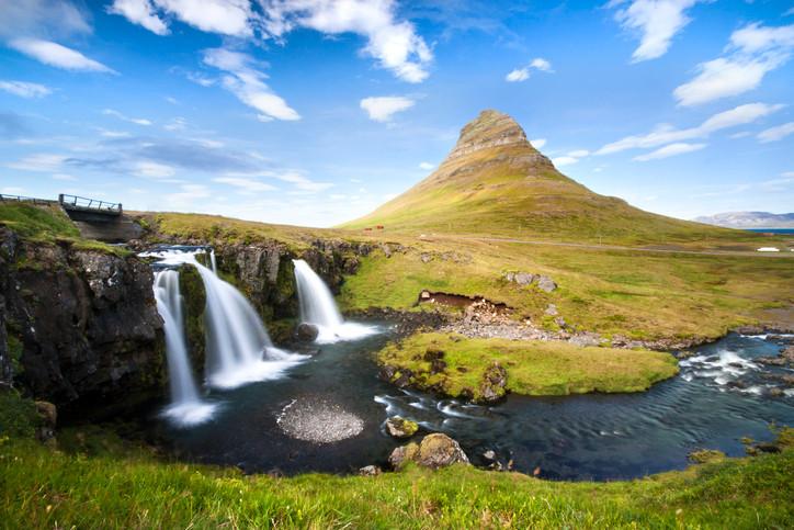 Kirkjufellsfoss Waterfall in Snaefellsnes Peninsula, Iceland