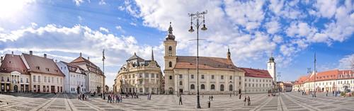 Main town square (Piata Mare) in Sibiu, Transylvania, Romania