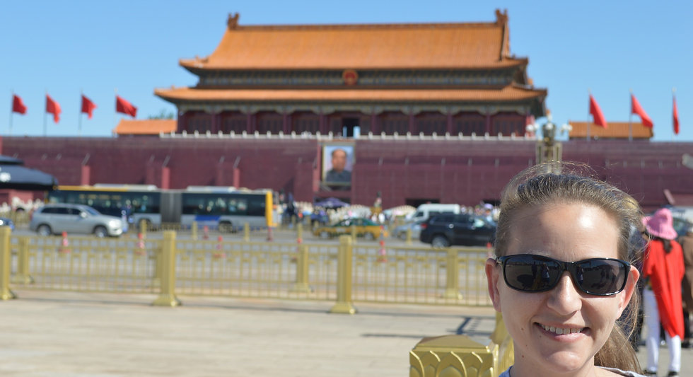 Erin with Enchanted Wanderings outsite the Forbidden City in Beijing, China