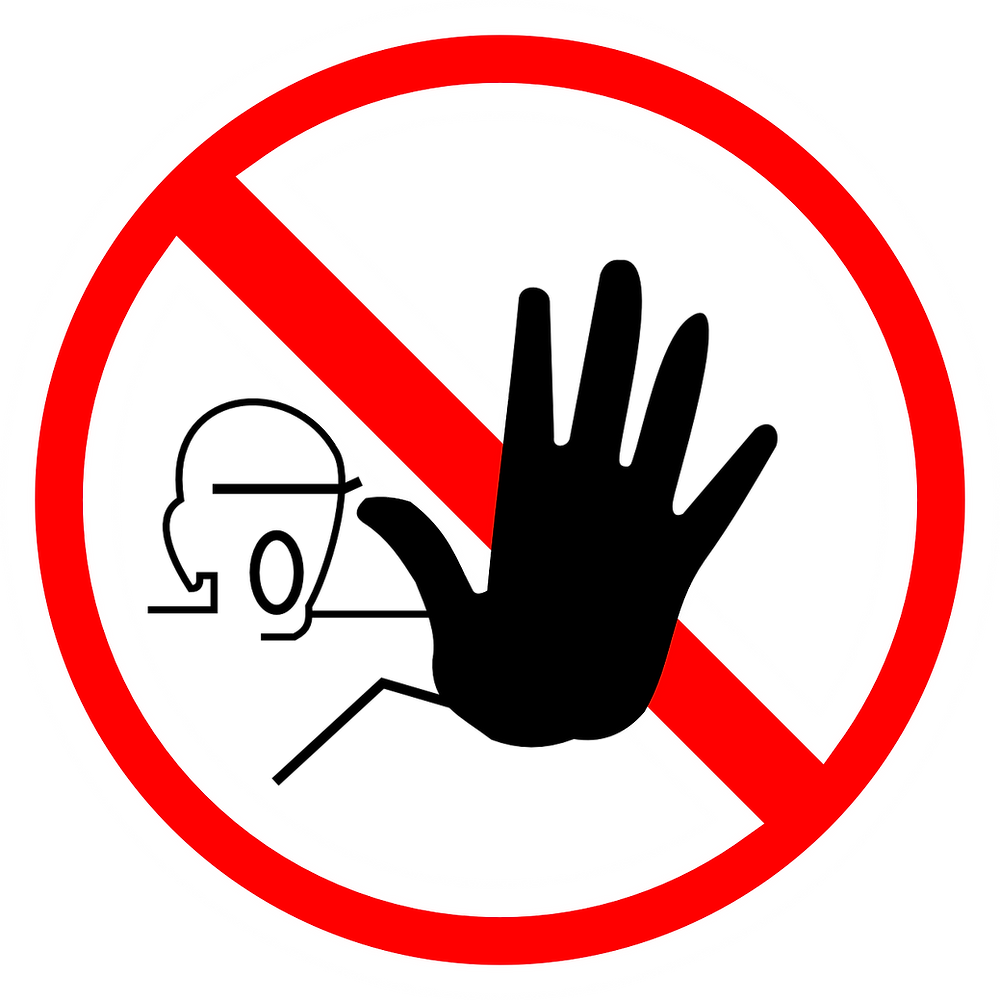 "Image of hand with red line and circle around it signifying ""stop"" or ""no"""