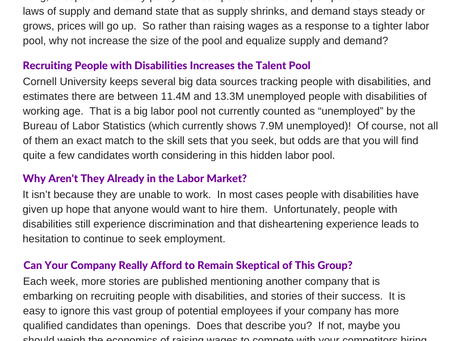 Increase Labor Pool by Employing People with Disabilities