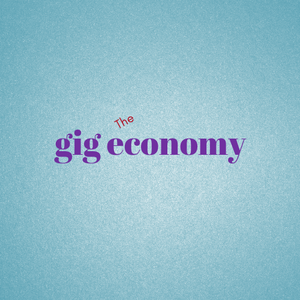 """image with blue background and """"the gig economy"""""""