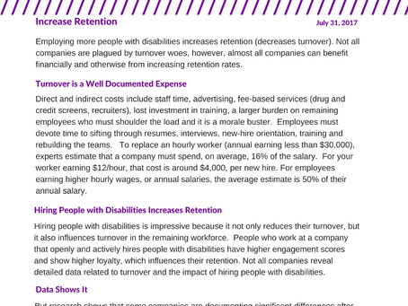 Hire People with Disabilities to Improve Retention
